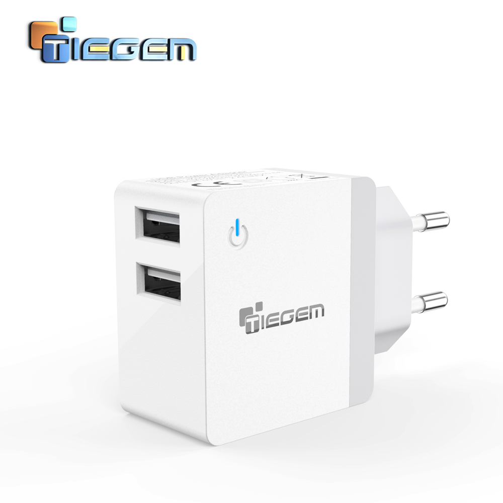 TIEGEM Universal Portable Travel Dual USB Wall Charger Adapter 2.4A US EU Plug Mobile Phone Charger for iPhone 6 samsung Laptop