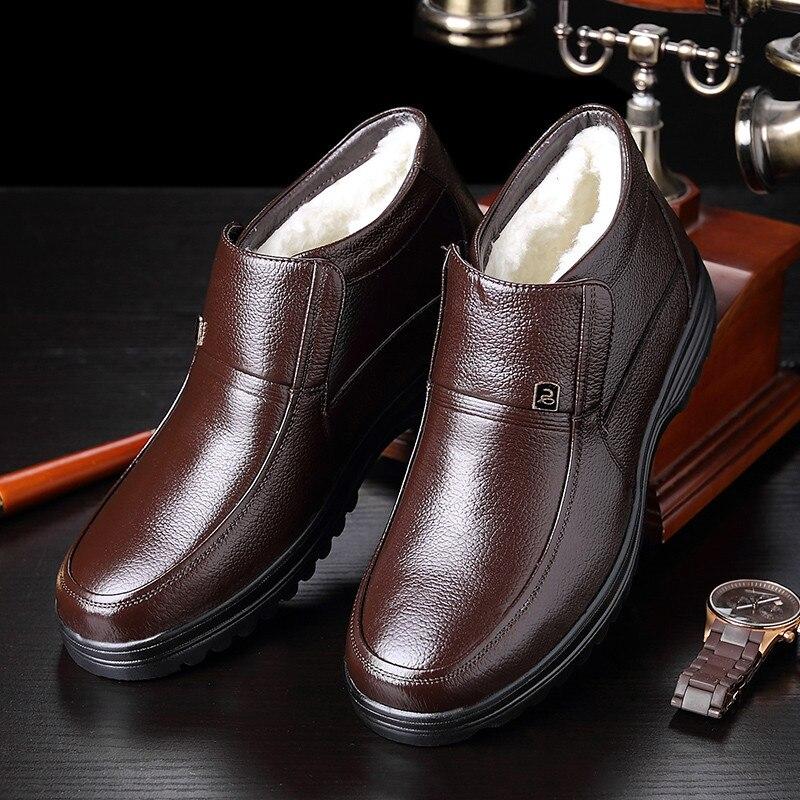 Bottes imperméables hommes hiver bottes de neige avec laine chaude rétro amorti décontracté cuir véritable peau de vache souple homme d'affaires chaussures