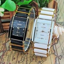 Новинка, элегантные мужские и женские наручные часы с бриллиантами, аналоговые, кварцевые, керамические, стальные, квадратные, LONGBO, часы для влюбленных, Роскошные, подарочные часы
