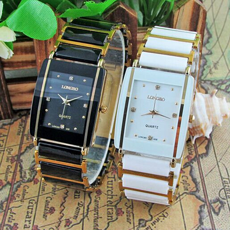 2016 New Diamonds Elegant Men Ladies Wristwatches Analog Quartz Ceramic Steel Square LONGBO WATCH Couple Lover Luxury Gift Watch