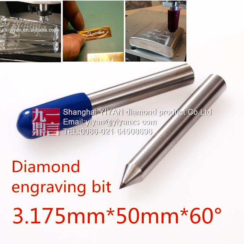 2 pièces Diamant glisser graveur peu 3.175mm tige 60 degrés diamant gravure point pour dremel engraver utiliser la gravure sur métal en verre