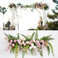 120CM Artificial Rose Fern Leaf Flower Row for Wedding Decoration Flower Wall Wedding Arrangement DIY Wedding Arched