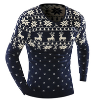 Spring new men's V neck splicing sweater men's deer printing splicing hit color sweater long sleeved sweater for free shipping