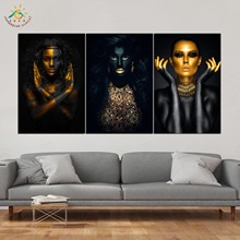 Black Gold Woman Modern Canvas Art Prints Poster Wall Painting Home Decoration Artwork Pictures for Bedroom 3 PIECES