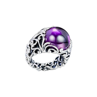 Regal Dazzling Beauty Rings with Purple CZ 100% 925 Sterling Silver Jewelry Free Shipping