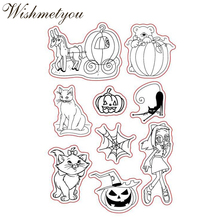 WISHMETYOU New Design Silicone Seals Stamps Cartoon Halloween Pumpkin Car Monster Transparent Decor Scrapbooking Making