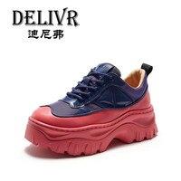 Delivr кроссовки женские брендовые вулканизированные туфли для девочек на толстой платформе Harajuku женские кроссовки на толстой подошве натура