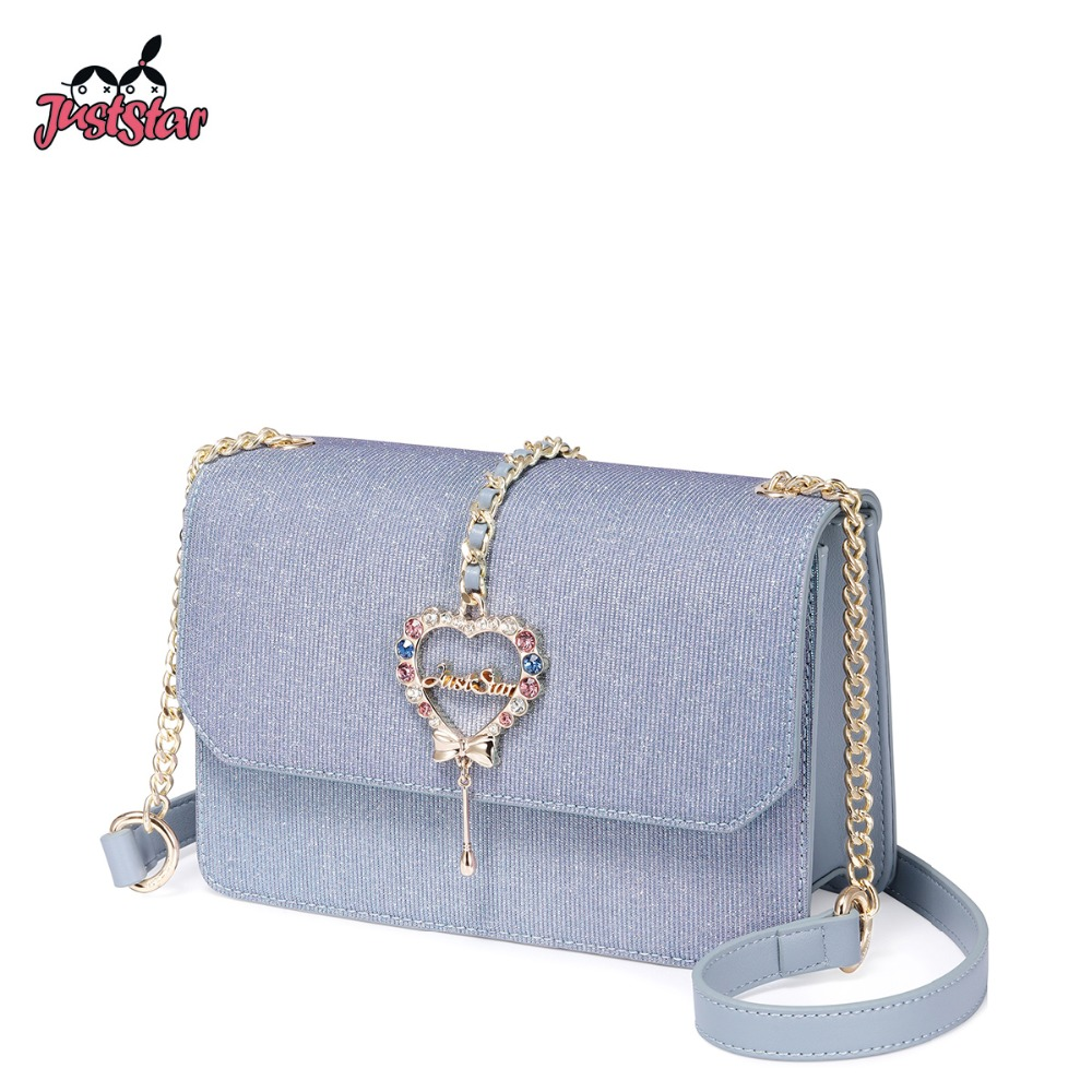 JUST STAR Brand Women s Leather Messenger Bags Ladies Fashion Diamond Love Shoulder Purse Female Chains