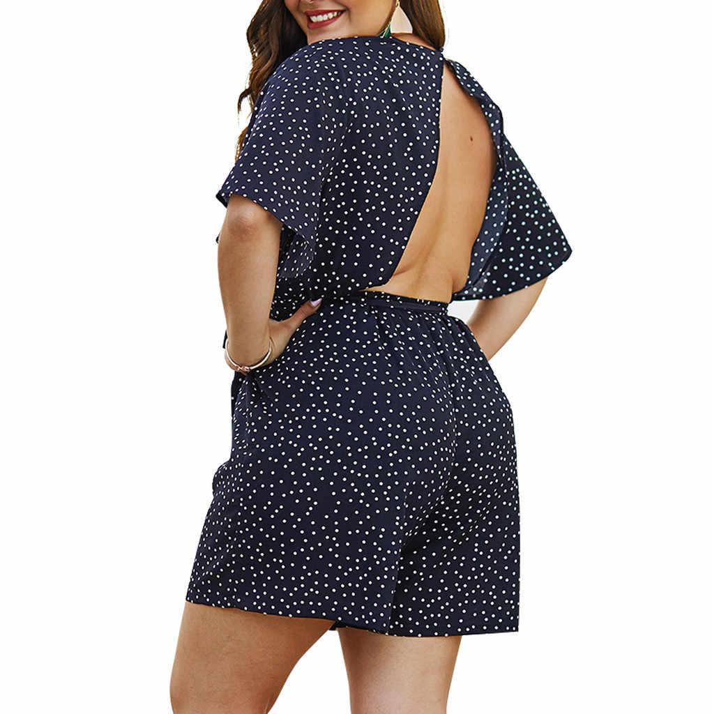 Bodysuit feminino boho moda verão dot impresso com decote em v rendas playsuit curto macacão plus size 4xl praia do feriado 2019 m529
