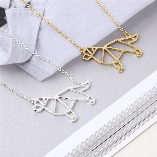 10pcs New Fashion Origami Golden Retriever Necklace Handmade Cute