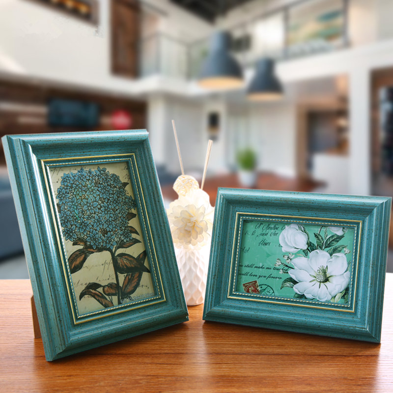 Cheap creative vintage diy photo frame new arrival wedding couple picture frames desktop home Home decoration photo frames