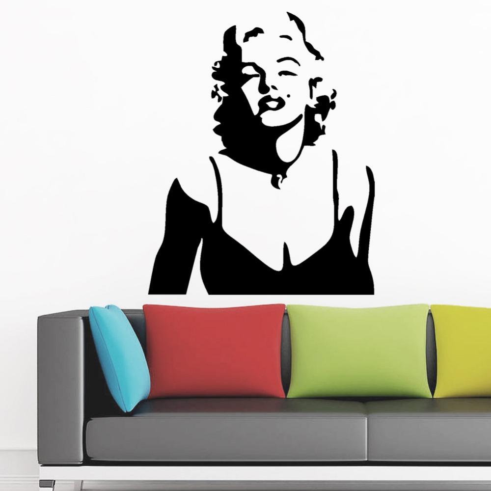Marilyn monroe wall decor red lips wall stickers home decoration wall decals decorative living room