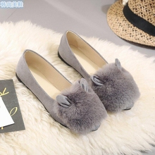 2017 New Fashion Women Shoes Soft Cute Peas Shoe Shirt Pinnacle Flat Top Comfortable Wild Rabbit Hair Casual Women's Shoes 35-39