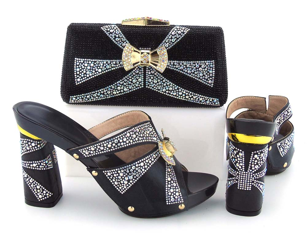 BCSB0035 italian shoes bag set fashion new design 2017 black clutches bag  Big size 38 to 6d95fdaada6e