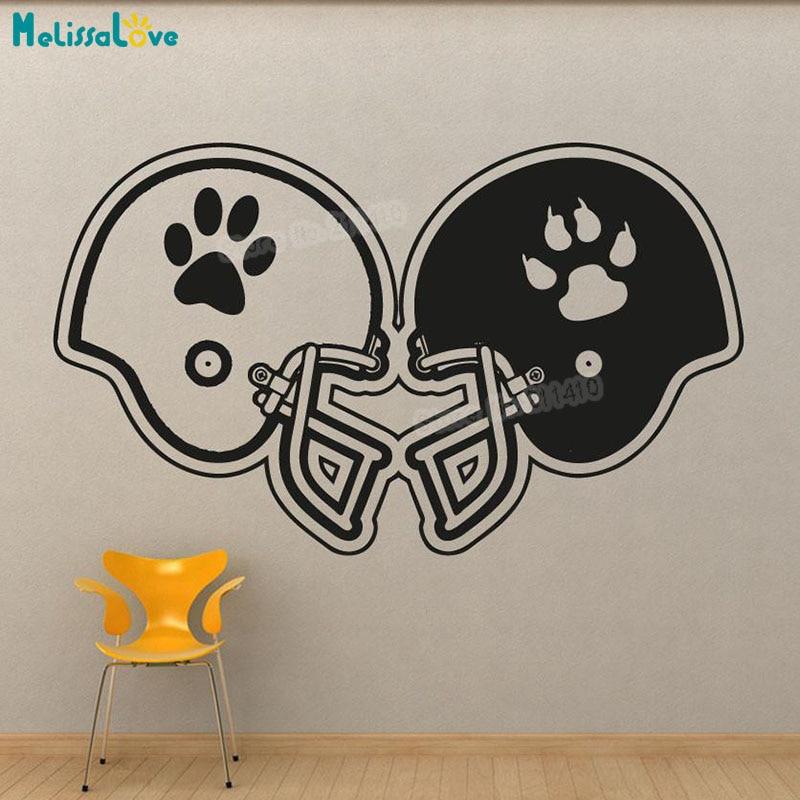 New Design Baby Cartoon Wall Sticker Rival Football Helmets Decals For Kids Boys Room 3d Self-adhesive Vinyl Art Murals YY894