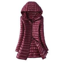 Осень Зима для женщин утка подпушка куртка Тонкий Длинные парки дамы 6XL теплое пальто с капюшоном плюс размеры ультра легкая верхняя одежда ветровк