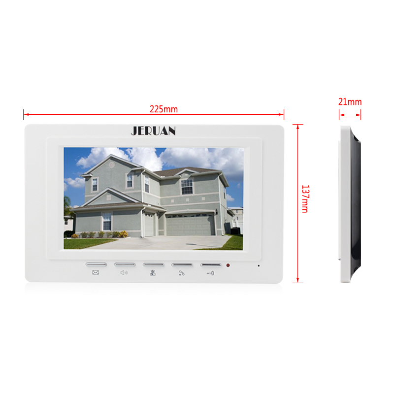 JERUAN Home wired 7`` color screen video door phone intercom system 1 monitor + waterproof metal pinhole Cameras Free Shipping