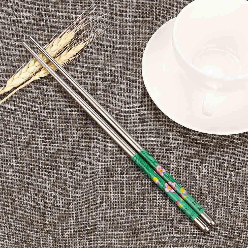 Sumpit Cina Alami Jepang Sumpit Set 1 Pasang Panjang Putih Bunga Pola Stainless Steel Sumpit Pasangan Baru