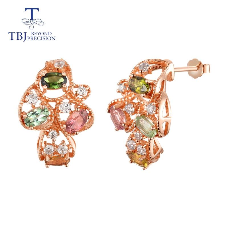 TBJ Natural Brazil tourmaline earring 925 sterling silver rose color fine jewelry for women wife luxury
