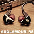Original AUGLAMOUR R8 Ear Hook Metal Earphone New Champagne Gold Color With 2-Pin Cable Free Shipping Support for iphone xiaomi