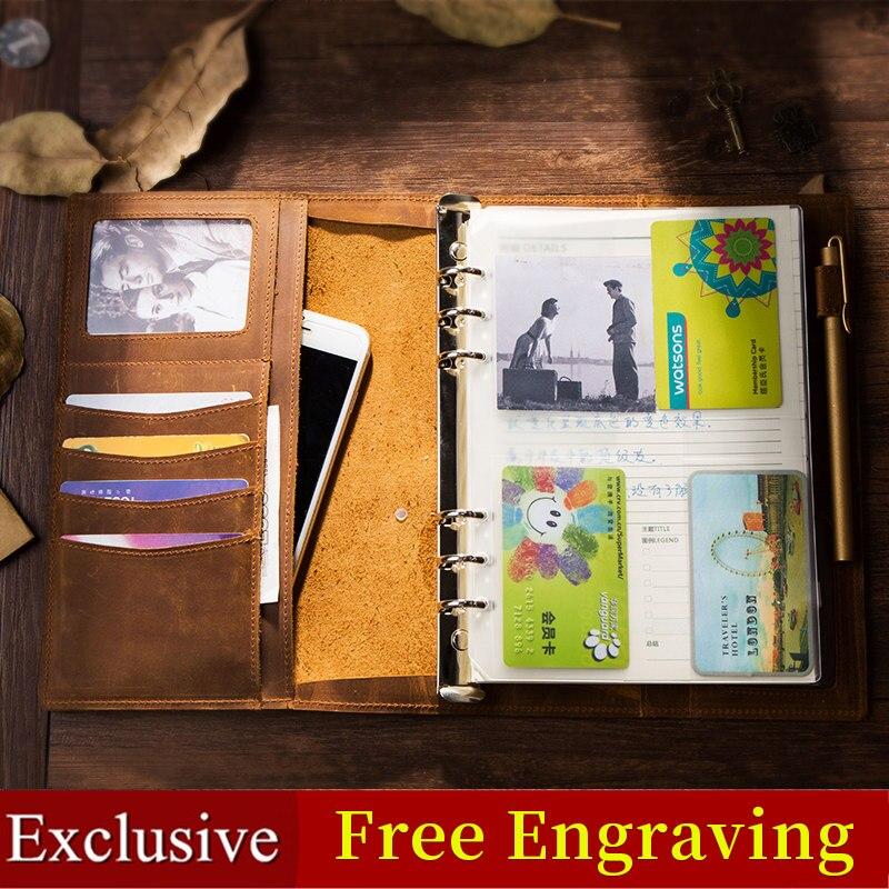Carnet de notes Journal de voyage artisanat Vintage en cuir véritable carnet de notes A5 A6 A7 carnet de croquis pour voyage spirale filofax