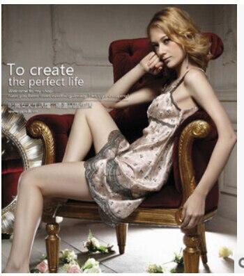 new arrival womens fashion cute sleeveless faux silk lace bow soft sleeping dress nightgrown