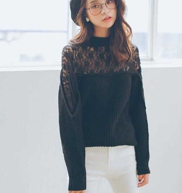 2015 Autumn sweater women korean fashion black hollow lace ...