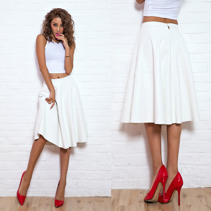 Aliexpress.com : Buy PU Faux Leather White Midi Skirt long skater ...