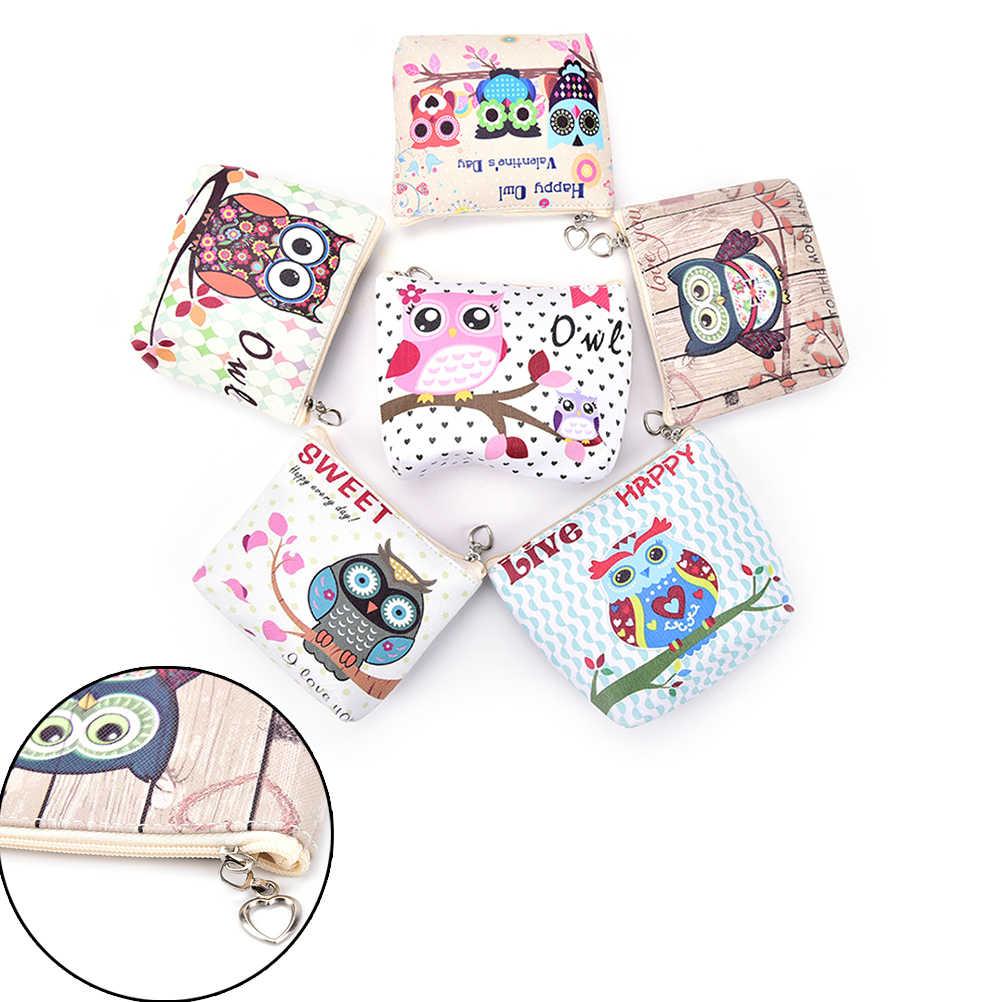 1 Pcs Fashion PU Kulit Zipper Dompet Koin untuk Anak-anak Hewan Kawaii Kartu Kunci Tas Lucu Burung Hantu Kecil Dompet Koin