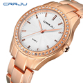 Luxury Brand CRRJU Quartz Watch Women Gold Steel Bracelet Watch 30M waterproof Rhinestone Ladies Dress Watch relogio feminino