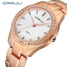 Marca de lujo crrju cuarzo mujeres del reloj de oro reloj de pulsera de acero 30 m impermeable rhinestone señoras vestido reloj relogio feminino