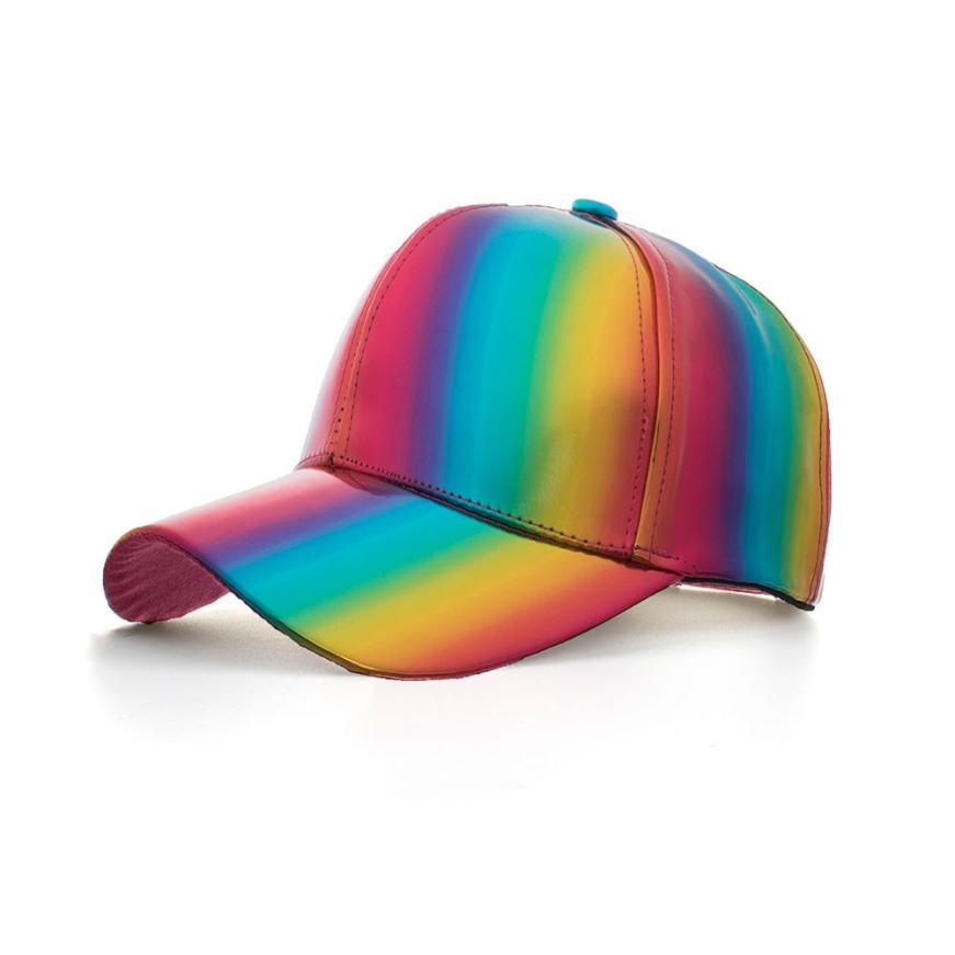 4e9ff2e8697 baseball cap men summer Fashion Men and women unisex Adjustable Rainbow  waterproof Cap Baseball Hat Shade