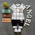 (2pcs/set)Baby short set  children Clothing Set Brand  Boy short Tee pans 100% Cotton bear printed plaid short Tee