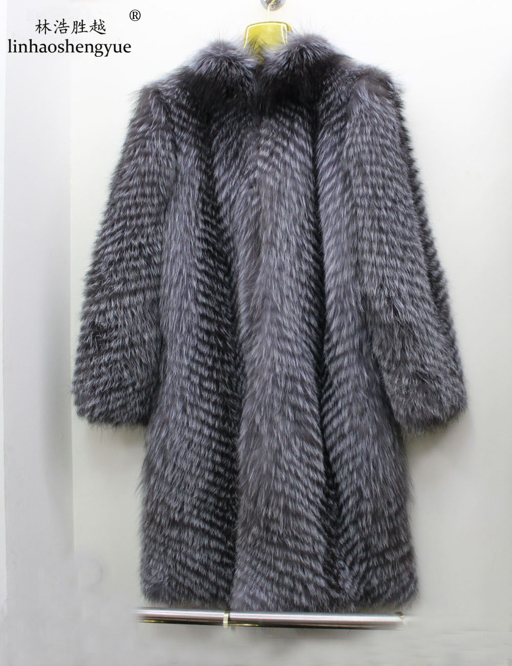 Linhaoshengyue 110CM long real silver fox fur coat with hood