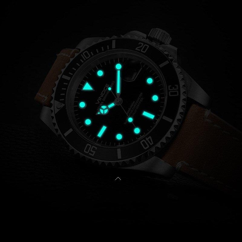 VINOCE Brand 20Bar 200m Diving Sports Watches Men Luminous Business Leather Men 39 s Quartz Watch Multifunction Relogio Masculino in Quartz Watches from Watches