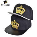PU Leather Crocodile Mesuda Baseball Caps lion head Crown Snapback Hats Gold Rhinestone hip hop hat men women gift