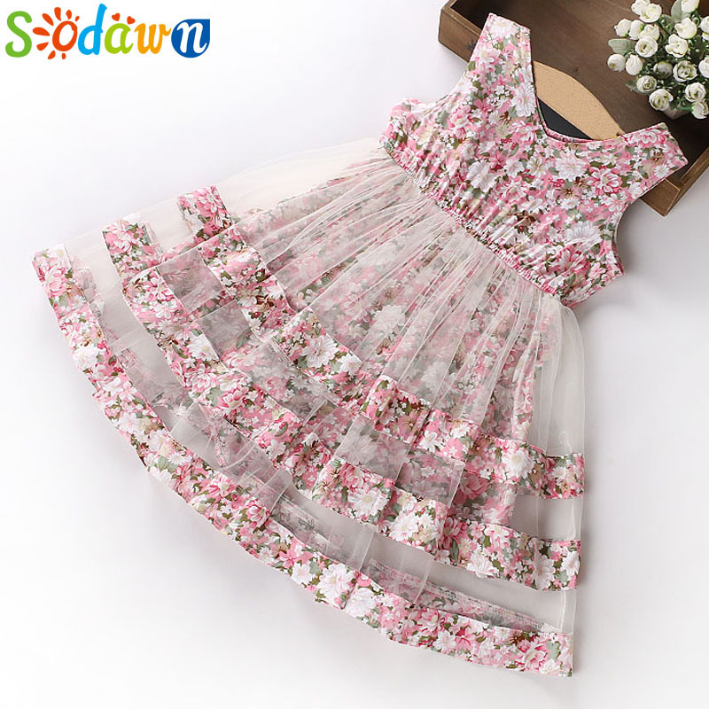 цена на Sodawn 2018 Summer Party Dresses For Girls Wedding Dresses Floral Print Kids Dresses Summer Sundress 5-12Years Baby Girls Dress