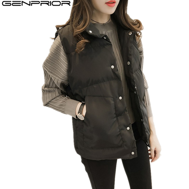 a4835a6f2 US $11.41 30% OFF|GENPRIOR Autumn Slim Large Size Women Winter Cotton Vest  Leisure Sleeveless Stand Collar Short Women Feather Casual Coat Outwear-in  ...