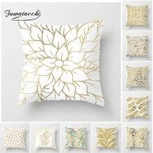 Fuwatacchi New Gold Geometric Cushion Cover Linen Leaf Soft Throw Pillow Decorative Sofa Case Pillowcase 2019