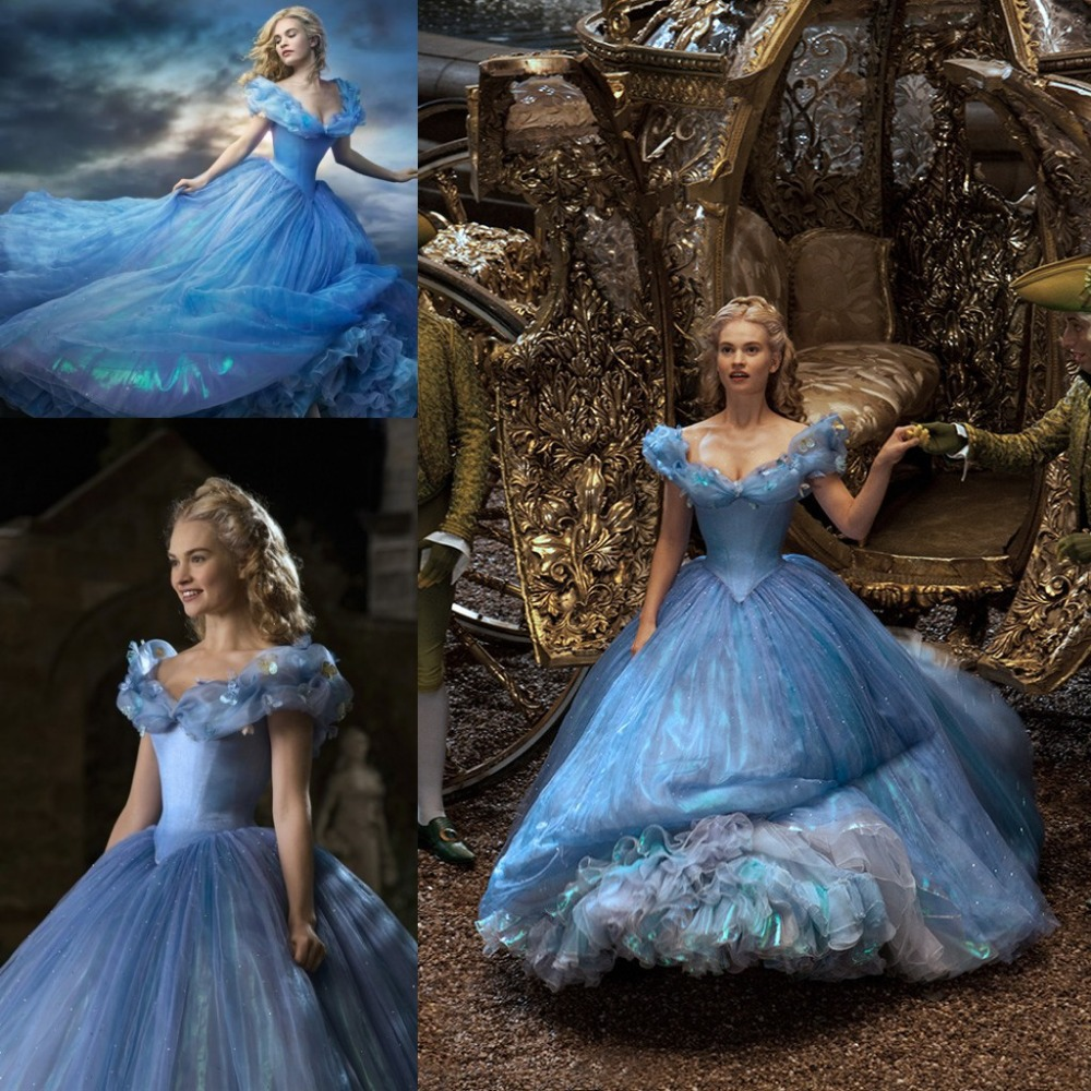 New Inspired 2019 Hot Sale Cap Sleeve V Neck Blue Cinderella Prom Dresses Cosplay Sequin Organza Backless Quinceanera Ball Gowns