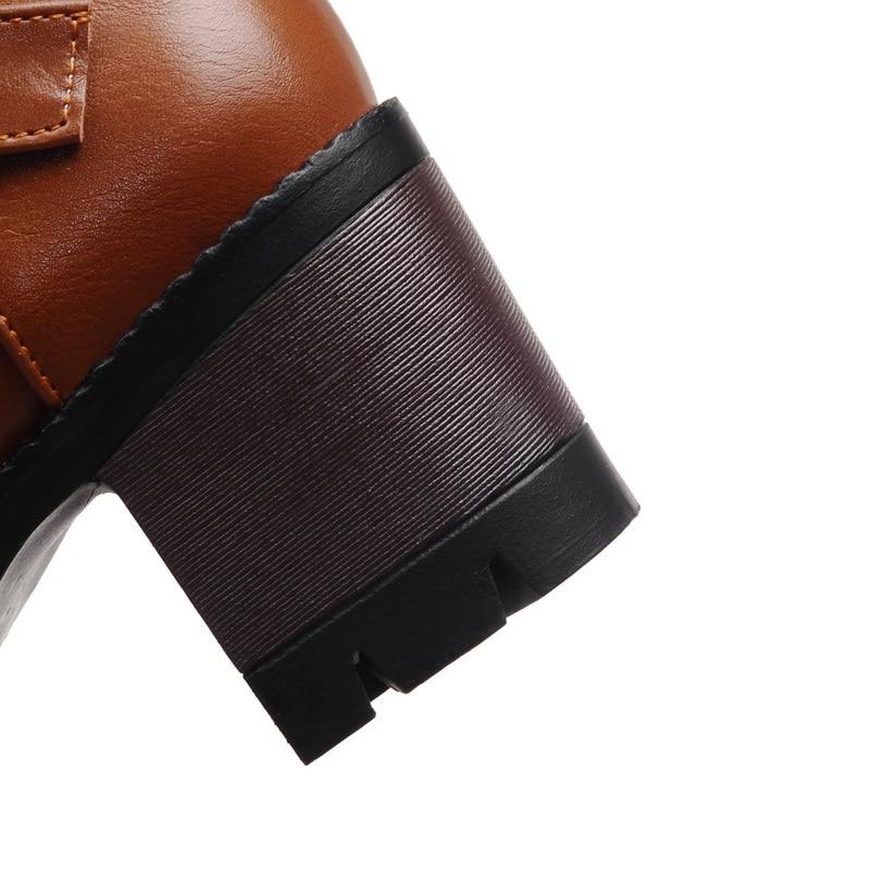 NEMAONE New Womens Knee High Boots Thick High Heel Platform women Boots Black red yellow winter boots Plus Size 34-43