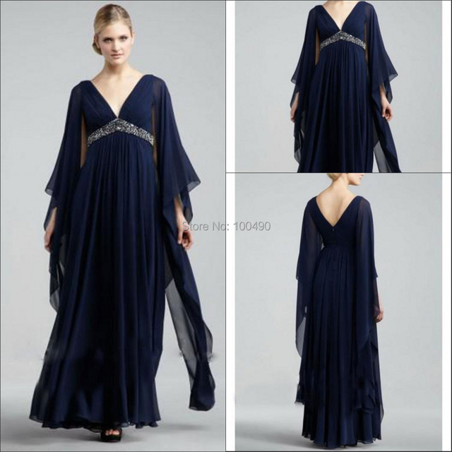 edc21f64596bb Dark blue Plus size Muslim Long sleeves maxi formal gown with beads and crystals  maternity prom dresses