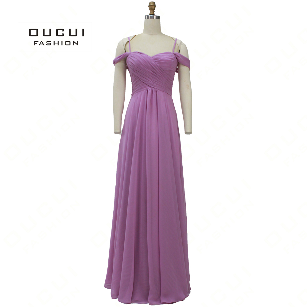 Oucui Purple   Bridesmaid     Dresses   Off Shoulder Sweetheart A-Line Chiffon   Dress   For Wedding Party Robe OL103354