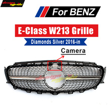 For Mercedes-Benz W213 Sport Diamond grille grill ABS Silver With Camera E class E200 E250 E300 E350 E400 E500 E550 grills 16-18 цена в Москве и Питере