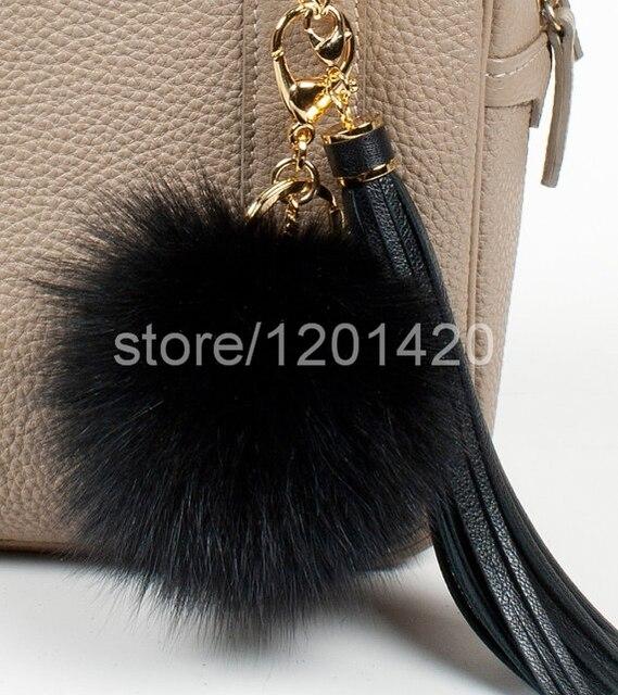 fur ball keychains black fox fur pompom keychain tassel keyring fluffy bag  charm genuine furry handbag charm plush purse charm b83b710c2
