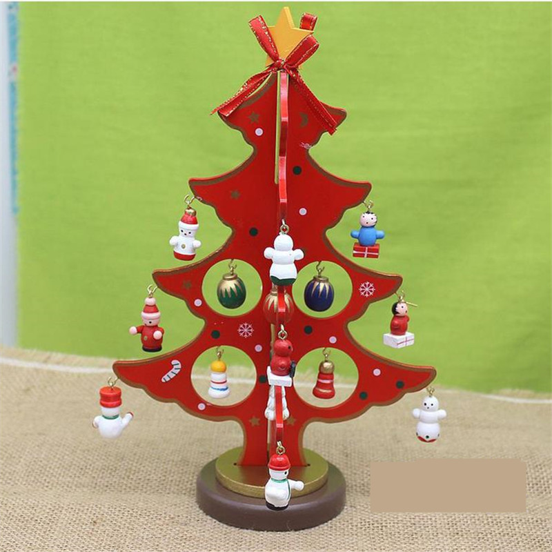 New 22 17cm Christmas Beautiful Wood Tree Toy Assemblage
