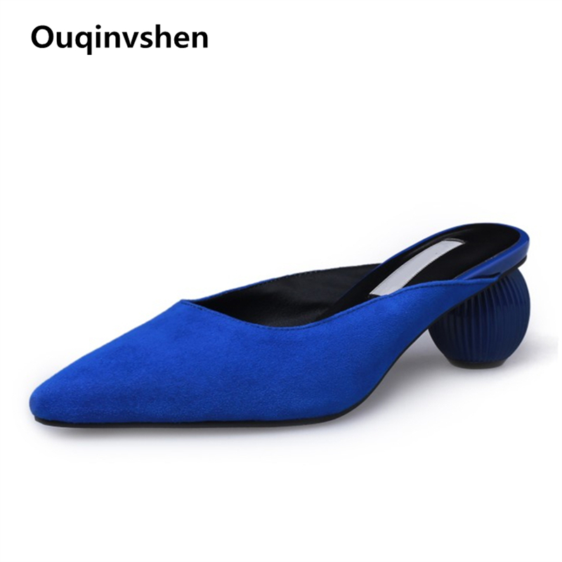 Ouqinvshen Pointed Toe Mules Shoes Women Black Fashion Strange Style Elegant Summer High Heels Slipper Kid Suede Women Slippers