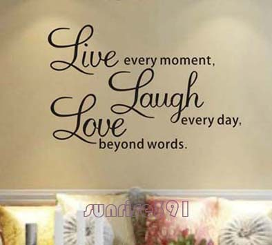 025B (Medium Black) Love Quote Wall Stickers Living Room Decor Art Decal  Sticker Quotes Part 59
