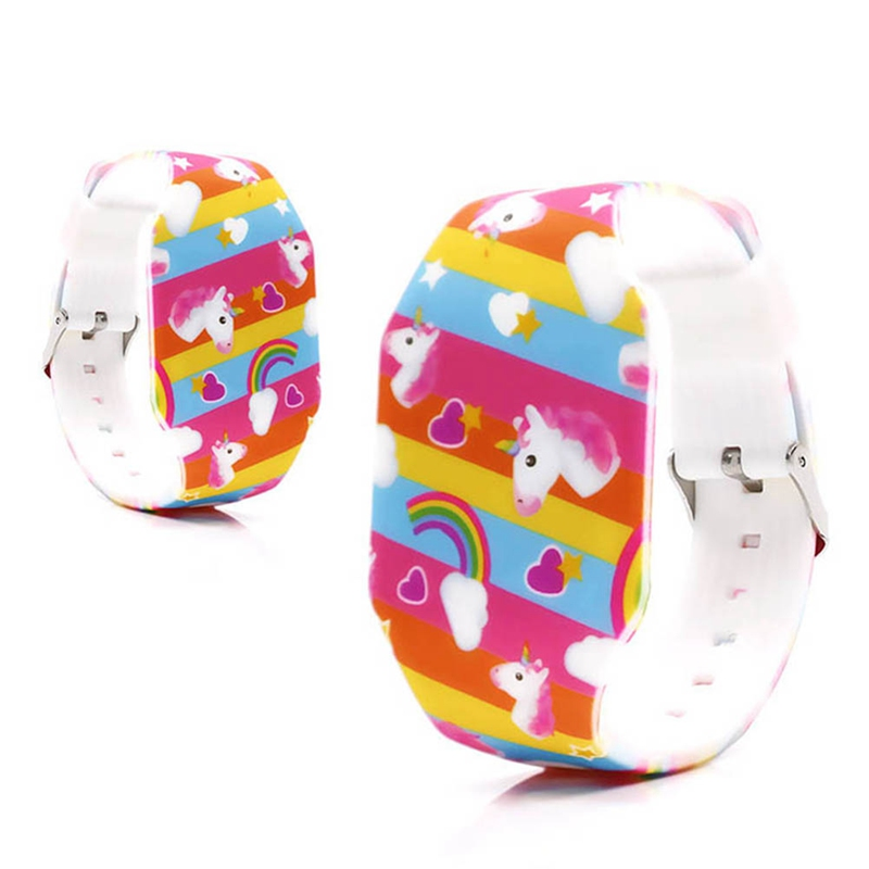 Kids Boys Girls Unicorn Printing Soft Rubber Fashion Digital Led Watches Wholesale Children Students Rainbow Luminous Watches(China)