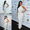 Kim Kardashian White Halter Chiffon Long Red Carpet Celebrity Event Dress Women Gown Free Shipping CD060